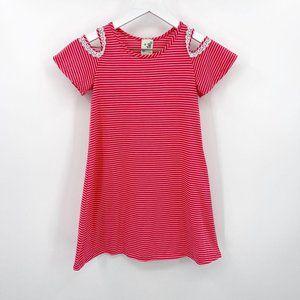 Lily Bleu Red Striped Lace Cold Shoulder Dress